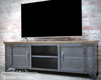 Modern Industrial Media Console   ANVIL   Steel TV Stand Cabinet Vintage   Entertainment Center   Audio   HiFi Retro