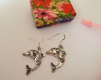 Dolphin silver tone earrings with Sterling Silver ear wires