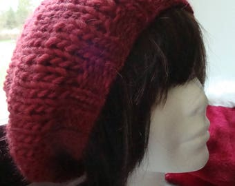 Red currant rasta hat, alpaca and Merino, chunky knit, warm
