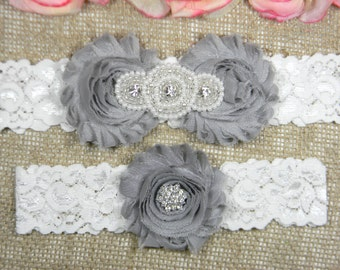 Silver Gray Wedding Garter Set, Wedding Garter, Lace Bridal Garter Set, Keepsake Garter, Toss Garter, Pearl and Crystal Rhinestone Garter