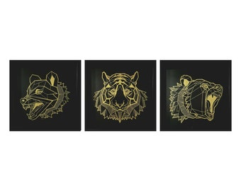 animal frame, wolf, tiger, bear geometric shape, triptych, 3 picture frames, interior decoration
