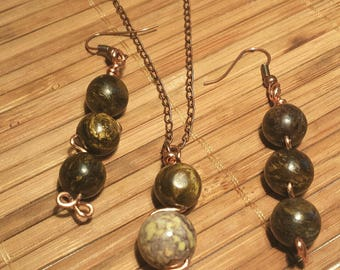 Tiger Iron Beads Wrapped with Copper Wire
