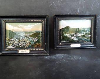 "Napoleon III Antique convex glass frame views of  ""Bad Ems"" German city. Germany Souvenir"