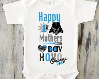 Baby boy happy first mothers day bodysuit personalized star wars mothers day onesie for baby boy personalized star wars 1st mothers day gift from negle Images