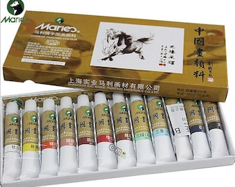Free Shipping Chinese Calligraphy Material  12ml Marie's Chinese Watercolor Paints Chinese Painting Color - 12 Colors - 0001