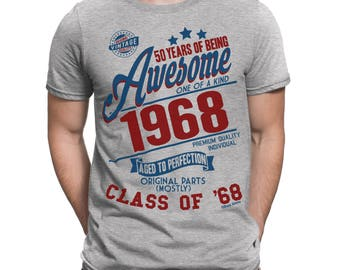 50 Years Of Being AWESOME Mens 50th T-Shirt Class of 1968 Birthday Gift