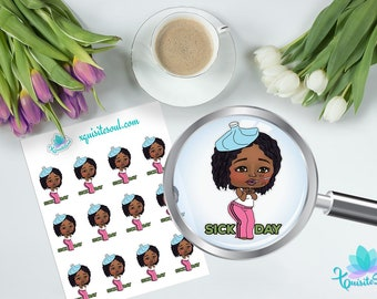 Sick Day XQuibi African American Planner Stickers / Black Girl Chibi Stickers