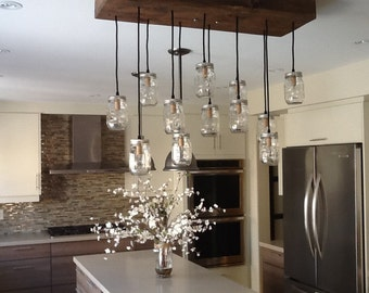 Mason Jar Chandelier with Southern Pine