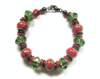 Red & Green (Christmas) GlassWorks Bracelet
