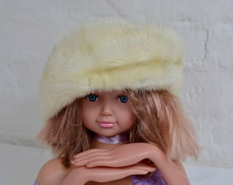 Vintage fur hat 1960s Blonde Mink Hat, Mink Hat, Winter Fur Hat, Light Brown Fur Hat, Hat Topper, Vintage Fur Hat, 1960s Mink Hat