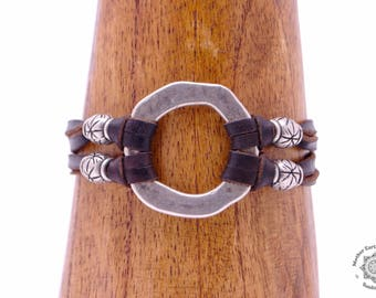 DIVINE | Hammered Silver O-Ring Leather Bracelet | Multi-strand Women's Leather Bracelet | Leather Jewellery | Handmade Gifts