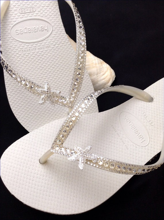 Havaiana Slim Flip Flop Sandals Swarovski Crystal Customised Wedding Bling
