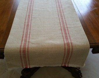 French Laundry red, spa, blue, brown, black stripe grain sack table runner, pick color and size