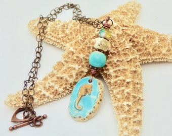 Ceramic Seahorse Pendant, Seahorse Necklace, Blue necklace, Ocean Necklace, Gift for beach lover necklace, Casual necklace, birthday gift