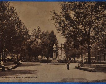 Washington Park Cincinnati Ohio Black and White 1910 Antique Postcard