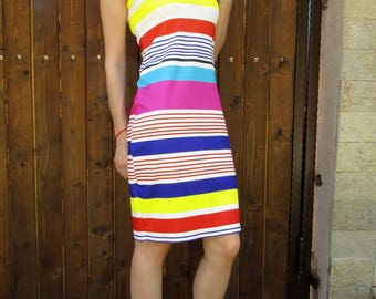 Elegant short striped dress with colors, yellow, red, blue and pink