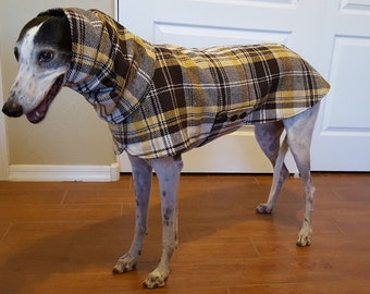 Coat for Greyhound with snood (Small) Plaid fabric, brown, yellow and white. Brown lining