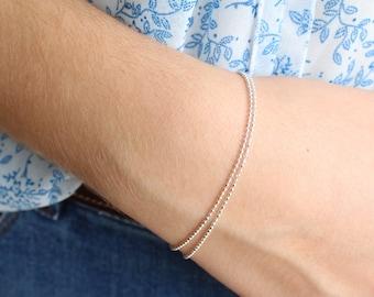 Round Diamond Cutting Finish Sterling Silver Beads Bracelet, Double Layer Bracelet, Dainty Bracelet, Minimalist, Stackable Bracelet