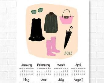 PRINTABLE Poster Calendar 2018, Minimalist Calendar, English Fashion Calendar, Accessories Calendar, Modern Office Decor  11x14 13x19