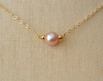 Solitaire Freshwater Pearl Necklace, Pink Freshwater Pearl, Gold Fill Necklace, Sterling Silver Pearl Necklace (0031N)