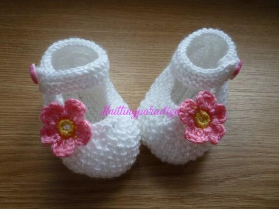 Blancas Punto Botas para bebés tejer botas de niña