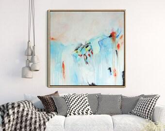 Abstract Wall Art, Abstract Canvas Painting, Original Artwork, Blue And Pink Abstract Art Contemporary Art Wall Decor Wall Art FREE SHIPPING