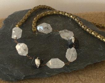 quartz and raw tourmaline on vintage brass snake chain