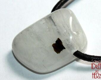 Moonstone (labradorite) on leather strap / cotton cord (necklace)