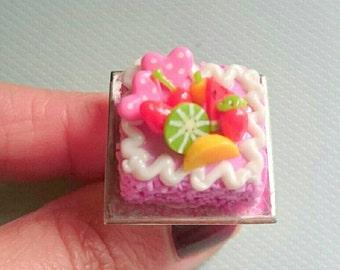 Delicious  Pink Birthday Cake Ring Pink Cake Ring. Novelty Ring.  Food Ring.  Kawaii Cake Ring. Q-Pot Style Ring. Statement Ring. Fruit Ring