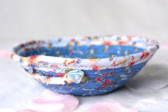 Blue Gift Basket, Lovely Floral Quilted Bowl, Handmade Lotion Holder, Hand Coiled Rope Basket, Modern Floral Basket