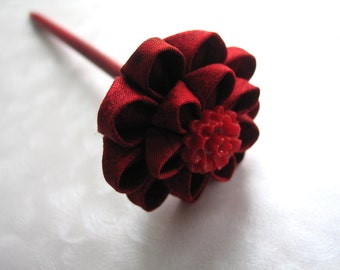 Ruby Rose Red Kanzashi Flower Hair Stick