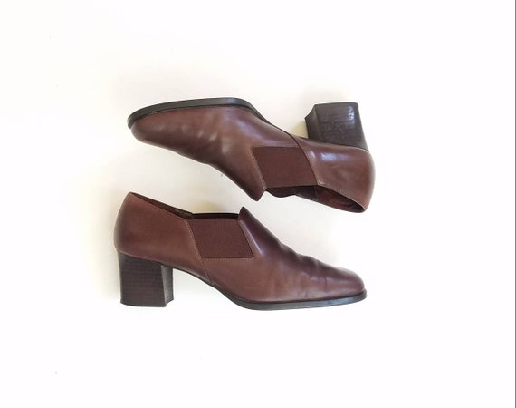 Classic Aerosoles Shoes Leather Heeled Booties Hipster Dress Oxfords Boho 8 Vintage Brown Preppy Chelsea Bootie Boots Womens Ankle Boots wHS1SWqE6Z