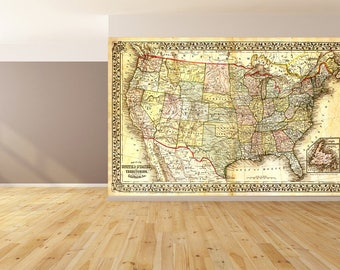 Map peel and stick etsy wall art united state map wallpaper huge peel and stick gumiabroncs Images