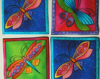 LAUREL BURCH Dragonfly Rare Fabric Appliques Flying Colors 9 Squares Iron On