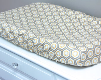 Changing Pad Cover - Hexa Honeycomb - Yellow and Gray