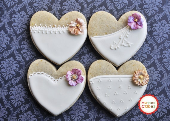 Cookie Wedding Favor- 1 Dozen Bride Heart Cookie Favors, Wedding Cookies,  Bridal Shower Cookies, Bride's Maids Gifts