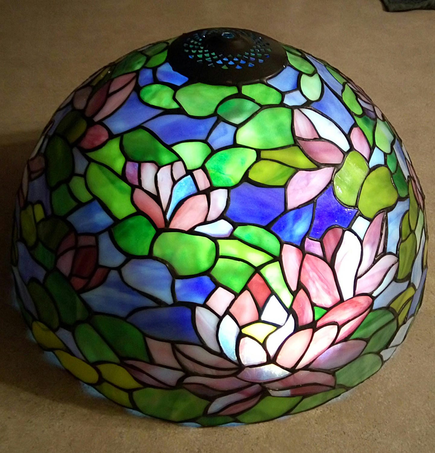 Massive Rare Vintage Chicago Mosaic Tiffany Style Stained