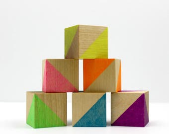 Painted Wood Blocks Set - Neon Rainbow