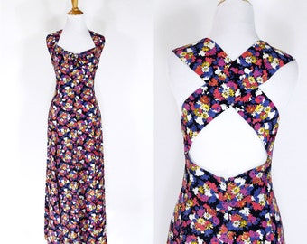 Vintage 1990s Dress | 90s Floral Print Maxi Sundress | Pink Purple | M L