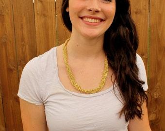 gold metallic braid necklace - braided necklace, beaded braid, gold, metallic gold braid necklace, gold braid, braid jewelry, gold necklace