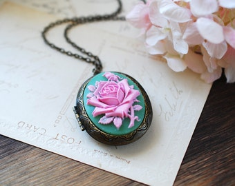 Large Green Pink Rose Cameo Locket Necklace. Vintage Inspired Victorian Antique Brass Oval Locket Necklace. mothers day gift, gift for mom