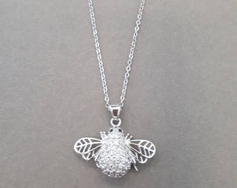 silver bee necklace, white and black zircons, 925 sterling silver