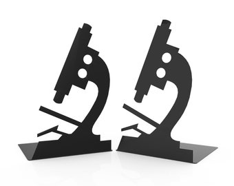 Microscope Bookends - Metal Bookends - Unique Gift - Metal Art - Custom - Science