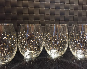 Polka Dot Confetti Stemless Wine Glasses-Set of 4-Black/White/Gold - Ready to Ship!