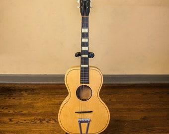 Vintage 1950s LAREDO Acoustic Guitar, Western Theme Head Stock Logo, Bohemian Wall Hanging, Music Studio Decor, Theater Photography Prop