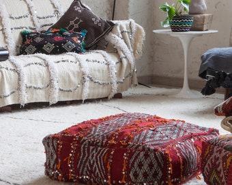 Red berber floor pillow, Berber Pouf cover, Bohemian Pouf, Moroccan cushion,Poufee marrocaine, Ottoman Floor Pillow, Morocan floor cushion