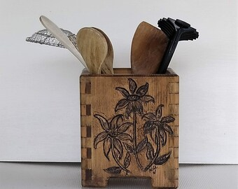New, Utensil Holder Handcrafted from Repurposed Wood , Hand Carved