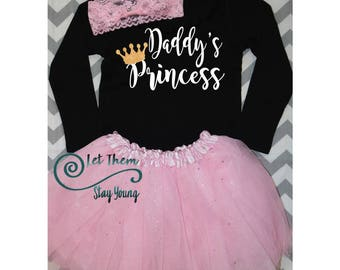 Daddy's princess long sleeve Shirt Gold Baby Girl Clothes Baby Girl Shirt Baby Gift White And Gold Sleeves fathers day gift daddys little