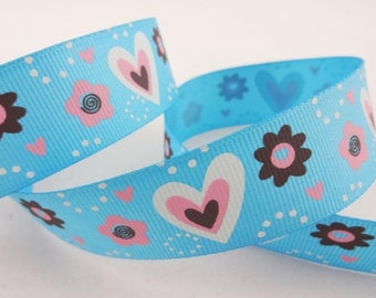 Blue pattern hearts and flowers (x 1 meter) polyester Ribbon