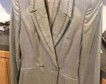 A Vintage ESCADA Grey and Rhinestones Pant SUIT